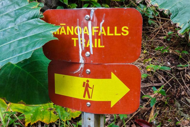 マノアの滝ハイキングを案内する標識